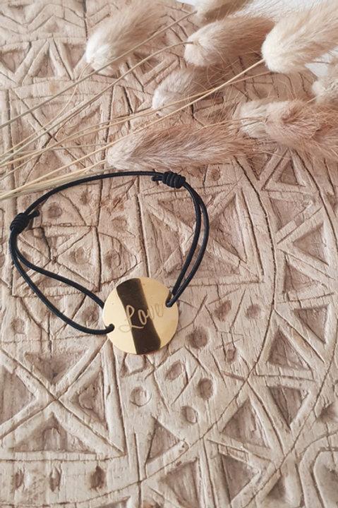 """Bracelet Médaille """"LOVE"""" Cordon Black"""