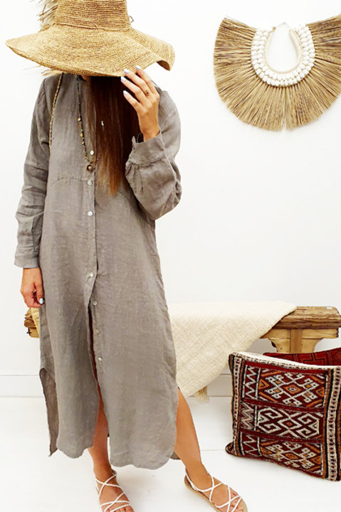 Robe Chemise Lin - Taupe