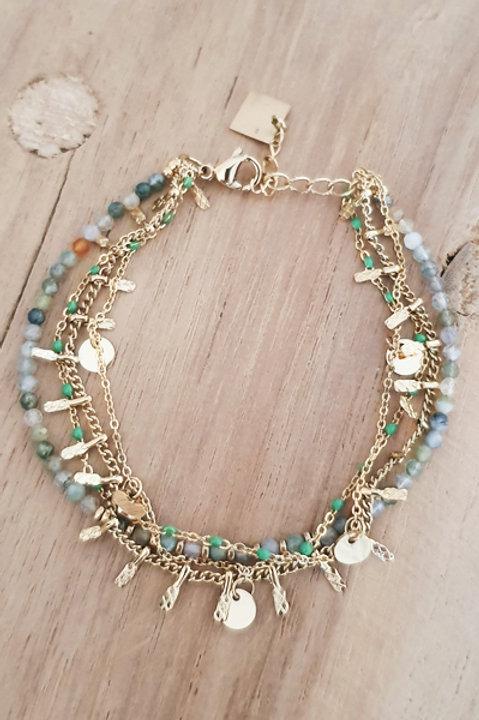 Bracelet Trio Perles Amazonite - N1