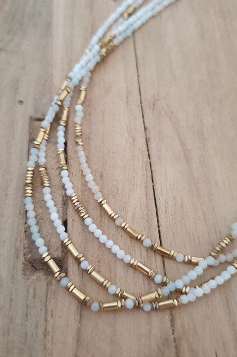 Collier Perles de Pierre - Aigue Marine