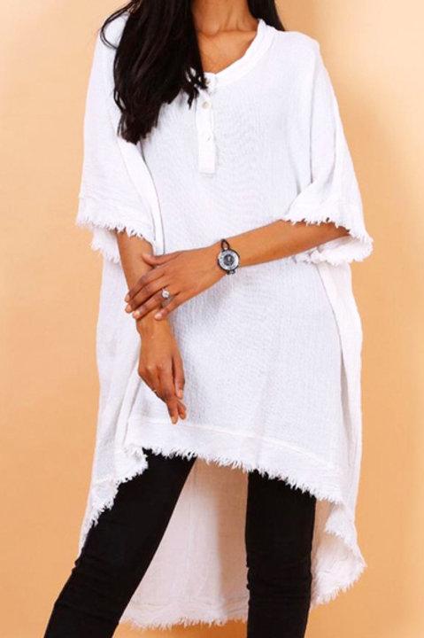 Longue Chemise Lin Coton - Blanc