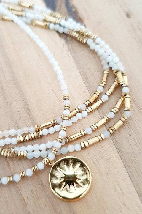 Collier Sun Perles de Pierre - Agathe Blanche
