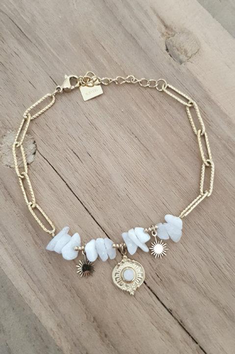 Bracelet Chainette - Pierre Druzy Agathe Blanche N1