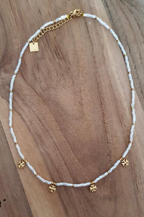 Collier Ras de Cou Summer N.5 - Perles White Gold