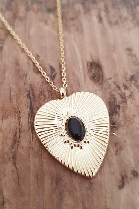 Collier Heart Gold - Onyx