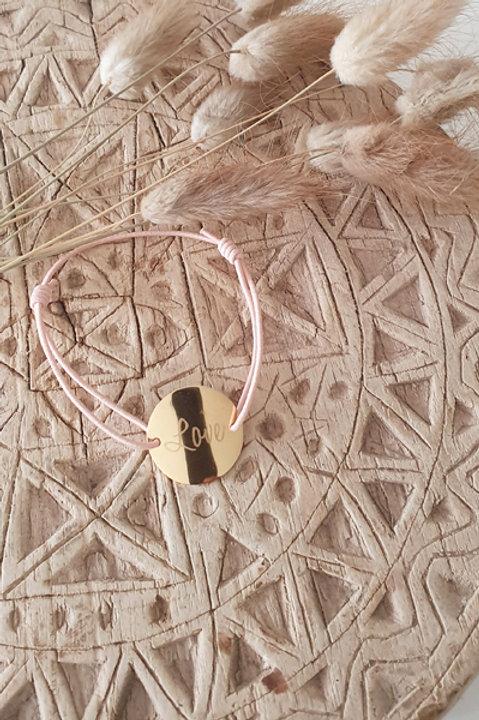 """Bracelet Médaille """"LOVE"""" Cordon Nude"""