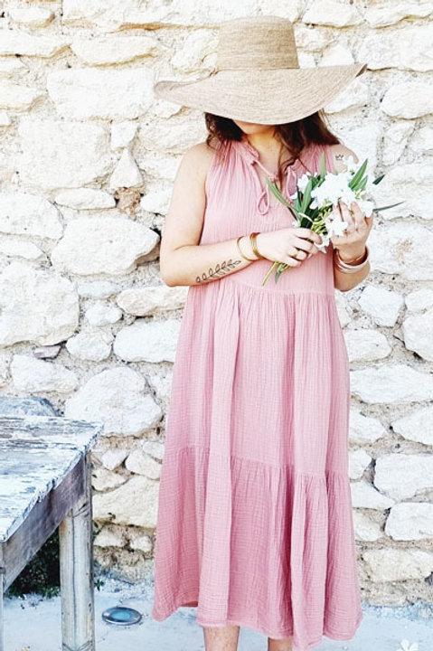 Robe Provence Gaze de Coton - Framboise