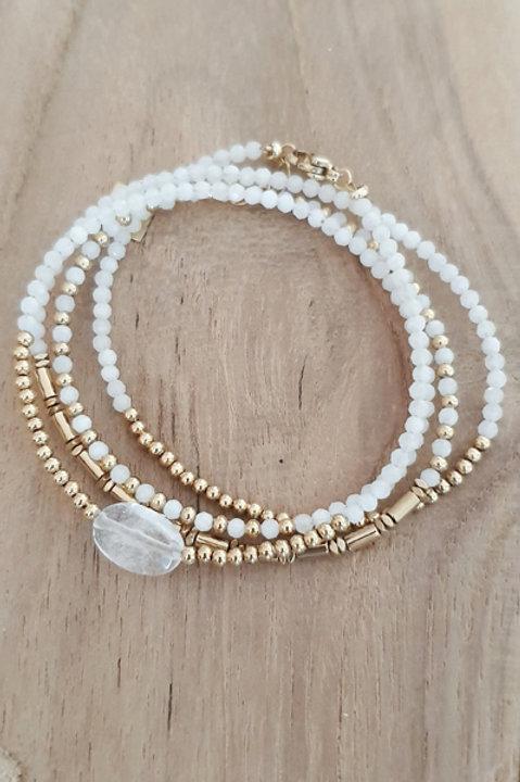 Bracelet Duo Collier - Perles de Pierres Naturelles - Agathe Blanche - N5