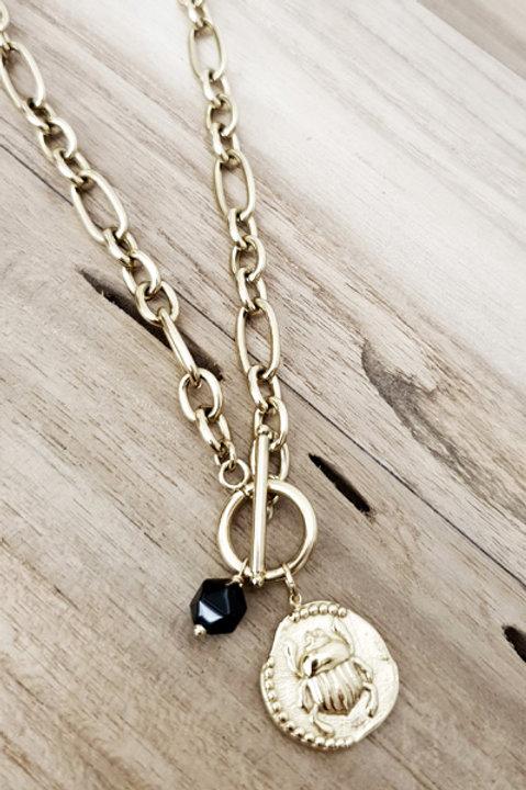 Sautoir Chainette Scarabé Gold