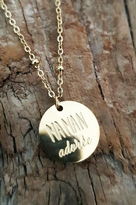 Collier Médaille - Maman Adorée