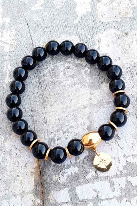 Bracelet - Pierre Onyx - Pampille Sun Gold