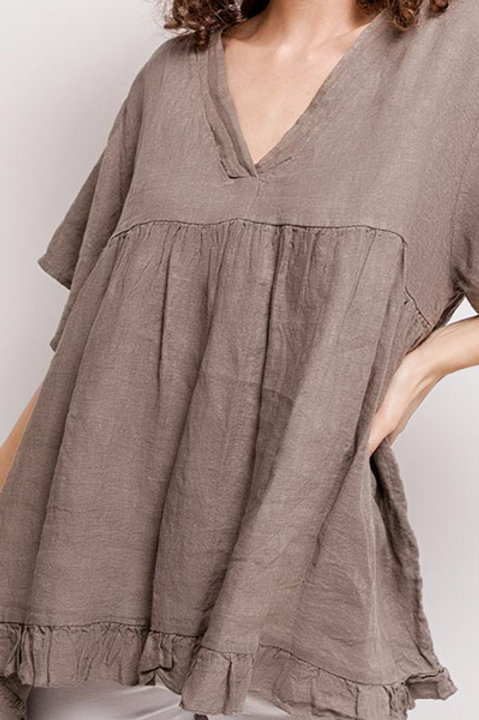 Blouse Col V Lin - Taupe