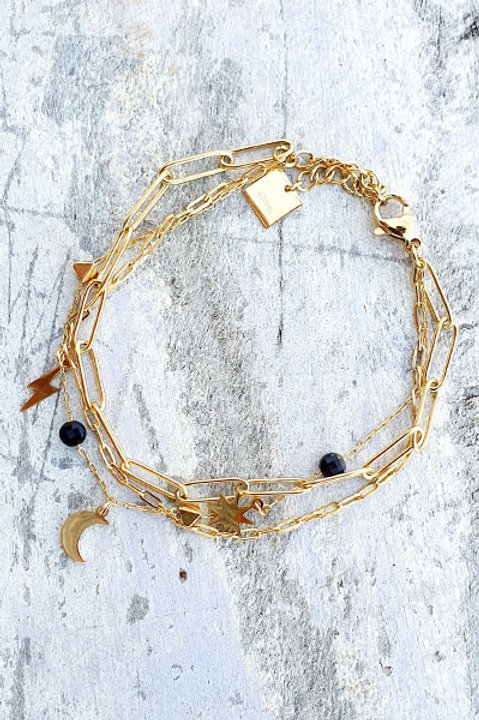 Bracelet Multi - Moon - Black