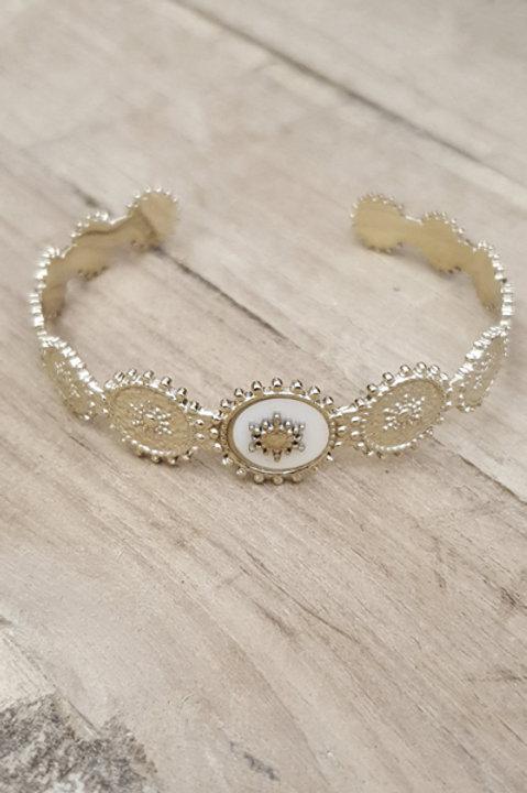 Jonc Queen Gold - White