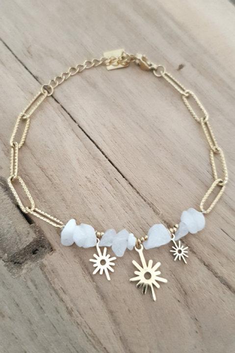 Bracelet Chainette - Pierre Druzy Agathe Blanche N5