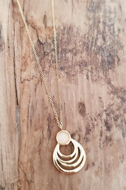 Collier Vintage Gold - Quartz Rose