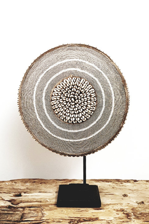 Bouclier African Perles Coquillages Silver - 34cm