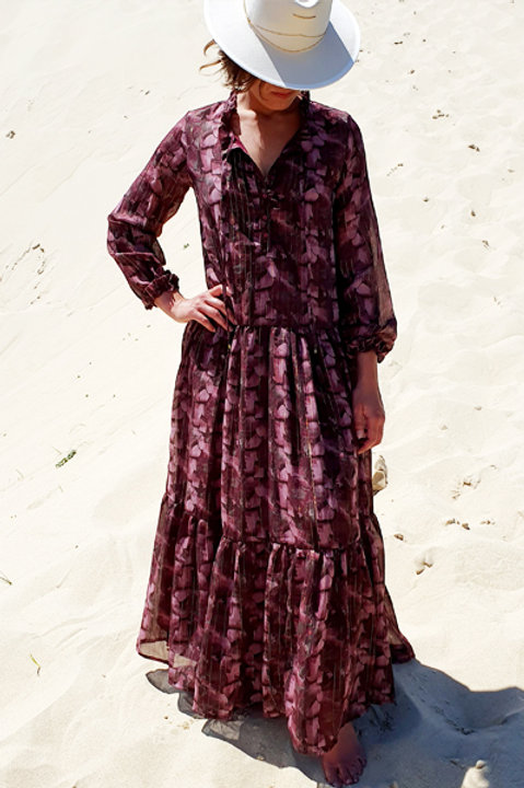 Longue Robe Fleurie - Lilas