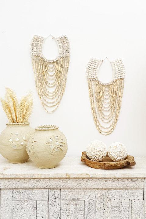 Déco Murale - Collier Perles Bois Coquillage