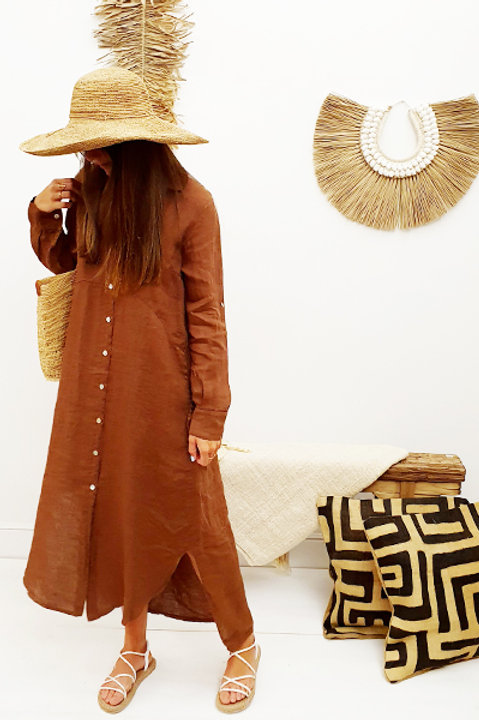 Robe Chemise Lin - Terracota