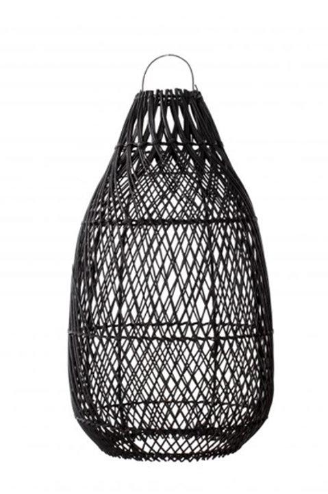 Lampe Osier Noire Forme Allongée