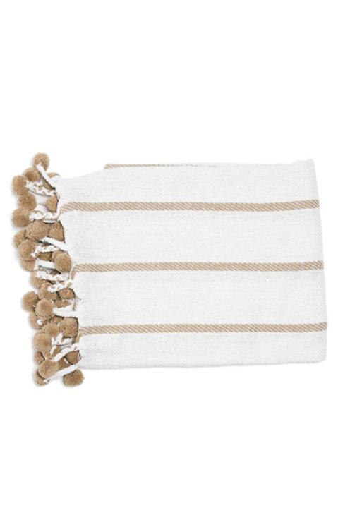 Plaid Coton Pompons Blanc