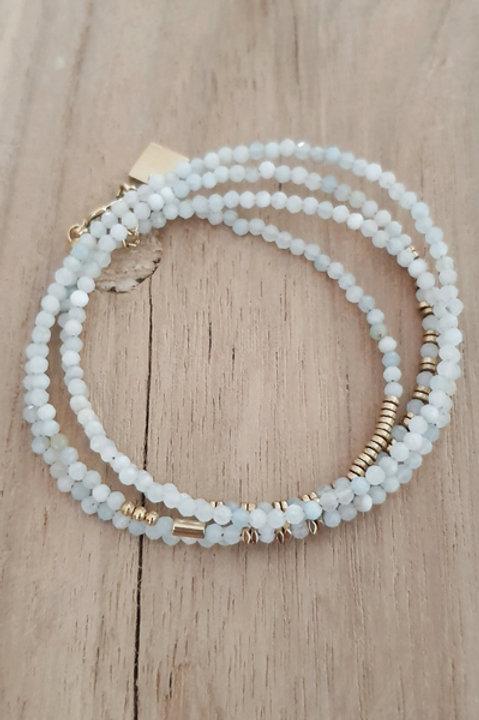 Bracelet Duo Collier - Perles de Pierres Naturelles - Aigue Marine - N6