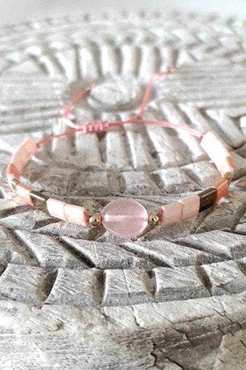Bracelet Perles de Verre Japonaises - Perle Corail