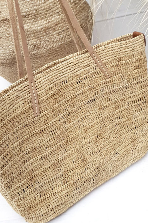 Cabas Panier Anses Cuir Broderie - Naturel