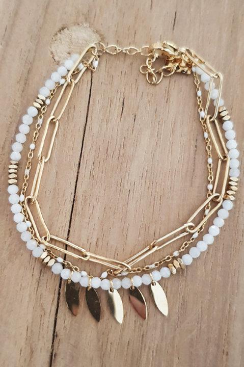 Bracelet Trio Perles Agathe Blanche - N2
