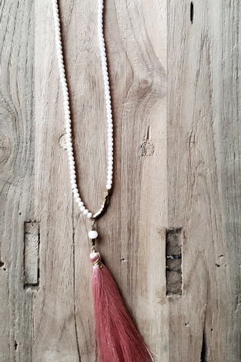 Sautoir Bicolore Perles et Pompon - Pink