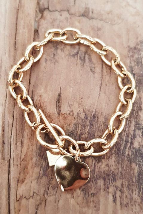 Bracelet Chainette Médaille Heart Gold