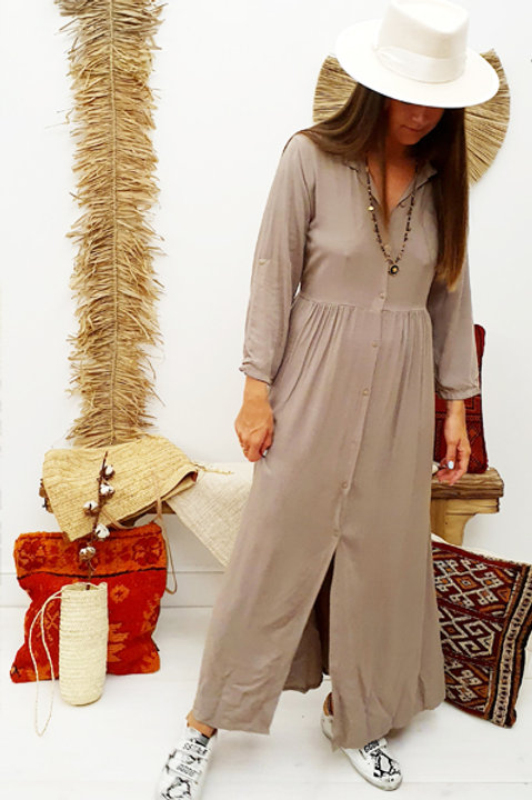 Robe Chemise Fluide - Taupe