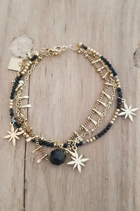 Bracelet Trio Perles Onyx - N6