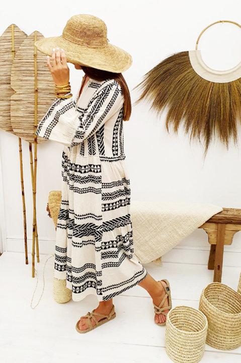 Robe Longue Ethnique - Black