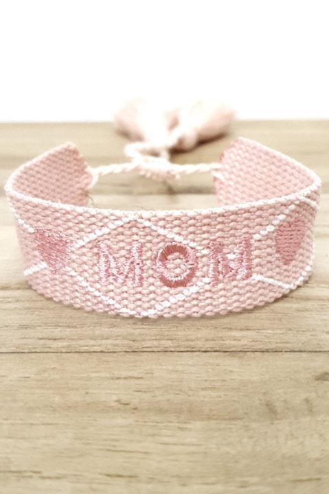 Bracelet Coton - Mom - Pink