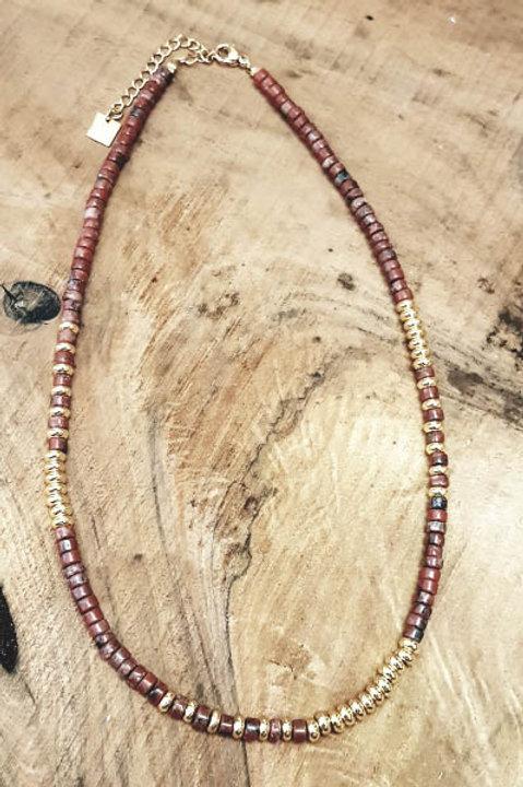 Collier Perles de Pierres Naturelles - Jaspe Bréchique