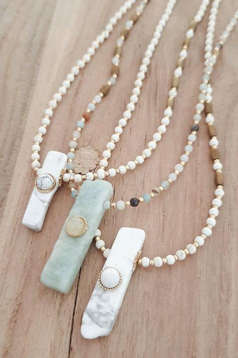 Collier Sautoir - Perles de Pierre Amazonite