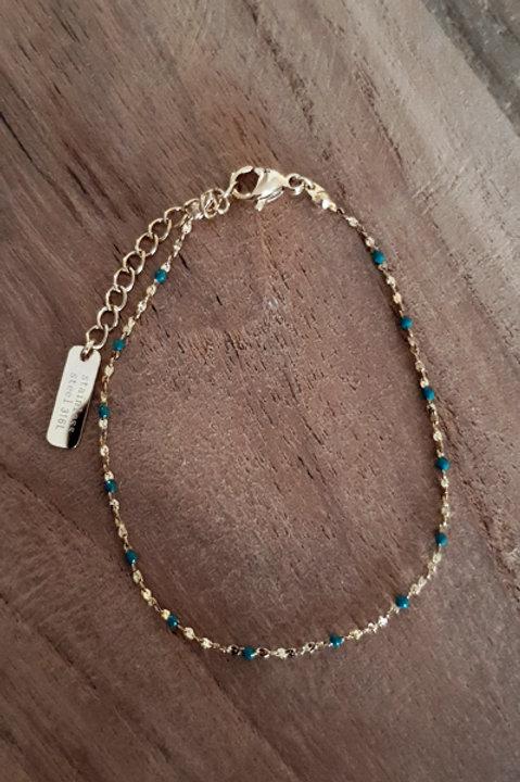 Bracelet Perles Emaillées - Emeraude