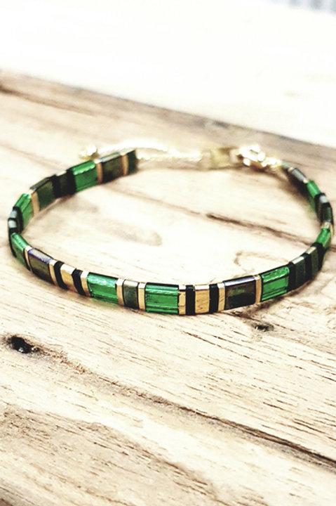 Bracelet Perles Japonaises - Emeraude