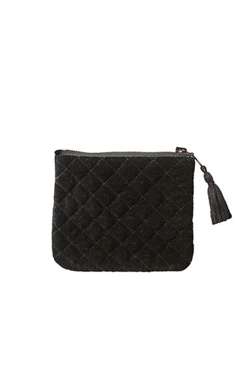Pochette Coton Velours Noir - S