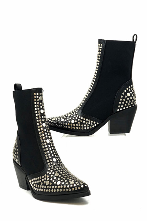 Boots Cloutées Santiags - Black