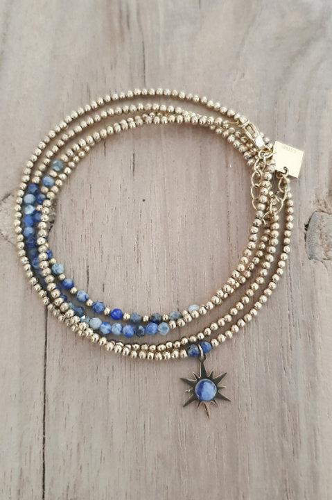 Bracelet Duo Collier - Perles de Pierres Naturelles - Lapis Lazuli - N4