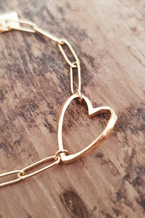 Bracelet Chainette Heart Gold