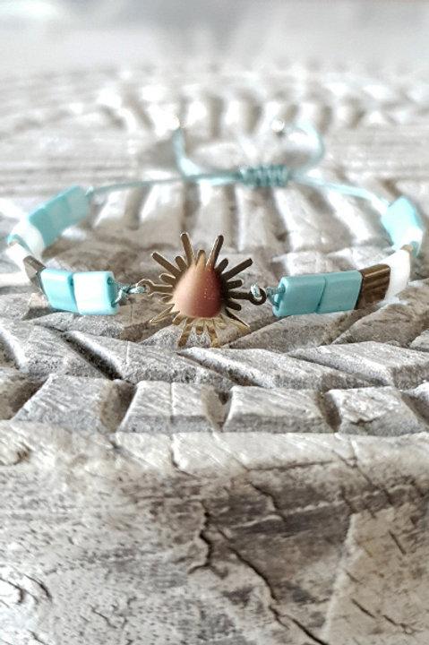 Bracelet Perles de Verre Japonaises - Turquoise