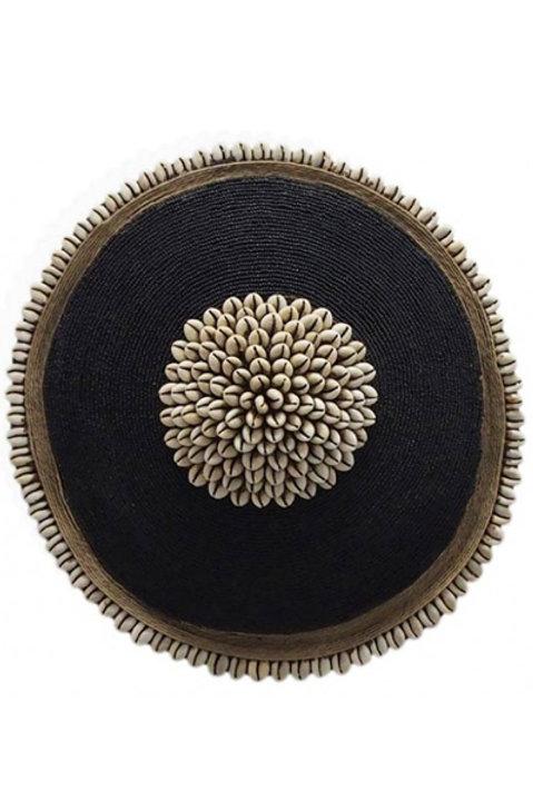 Bouclier African Perles Coquillages Noir - 30cm