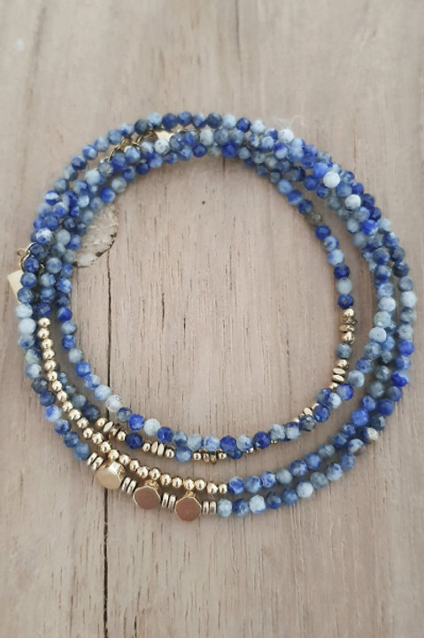 Bracelet Duo Collier - Perles de Pierres Naturelles - Lapis Lazuli - N1