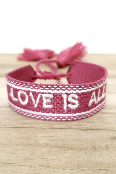 Bracelet Coton - Love - Pink