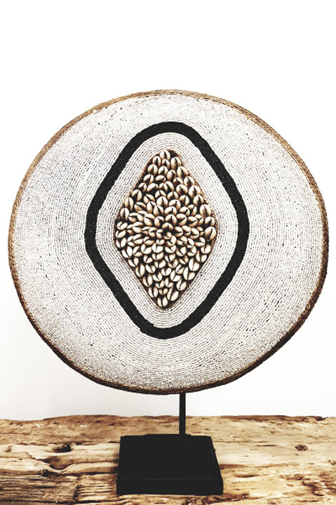 Bouclier African Perles Coquillages - 38cm