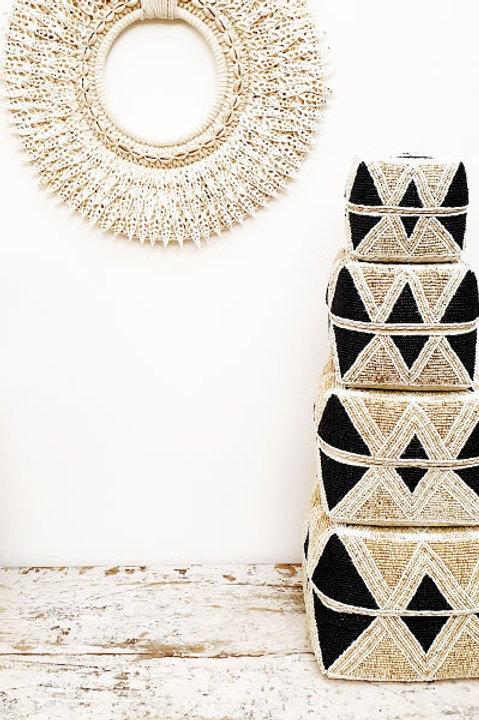 Boite Perles - Noir Ecru - M